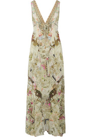 Chinese Whispers crystal-embellished printed silk crepe de chine maxi dress