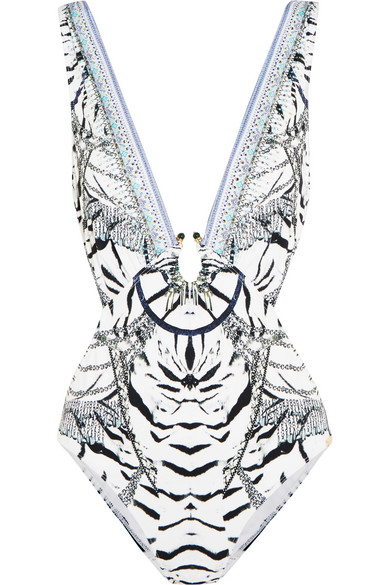 camilla female camilla chinese whispers cutout embellished printed swimsuit gray