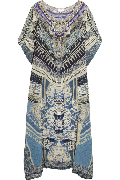 camilla female camilla chinese whispers crystalembellished printed silk crepe de chine kaftan storm blue