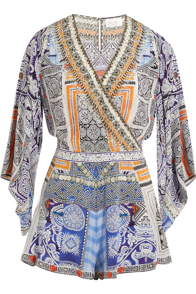camilla female camilla chinese whispers embellished printed silk crepe de chine playsuit light blue