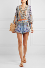 Chinese Whispers embellished printed silk crepe de chine playsuit