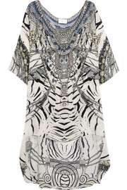 Chinese Whispers embellished printed silk crepe de chine dress