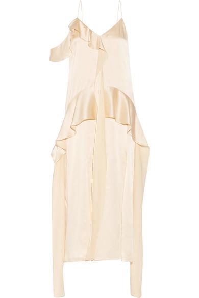 Jonathan Simkhai - Ruffled Silk-satin Midi Dress - Cream