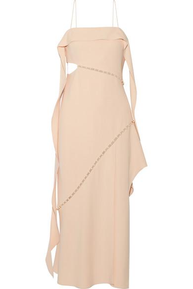 Jonathan Simkhai - Faux Pearl-embellished Cutout Crepe Midi Dress - Beige