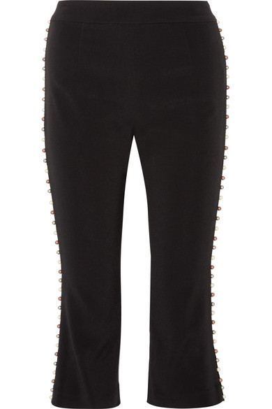 Jonathan Simkhai - Cropped Faux Pearl-embellished Stretch-crepe Straight-leg Pants - Black