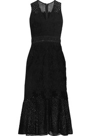 Crochet knit-paneled corded lace midi dress