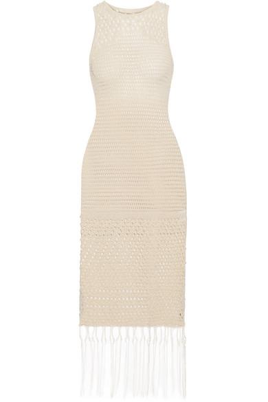 Jonathan Simkhai - Faux Pearl-embellished Crocheted Cotton-blend Dress - Ecru