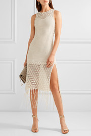 Faux pearl-embellished crocheted cotton-blend dress