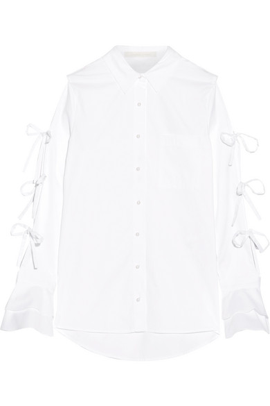 Jonathan Simkhai - Faux Pearl-embellished Cutout Cotton Oxford Shirt - White