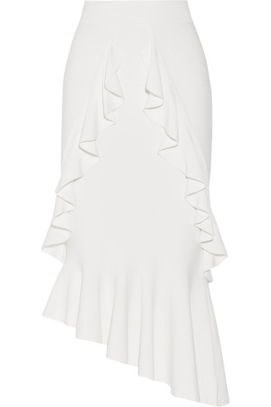 Jonathan Simkhai - Asymmetric Ruffled Stretch-knit Midi Skirt - White