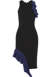 Asymmetric ruffled stretch-knit dress