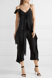 Draped stretch-crepe top