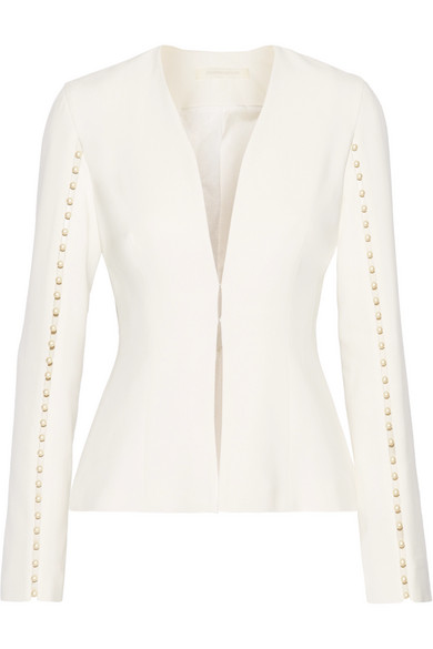 Jonathan Simkhai - Faux Pearl-embellished Cutout Stretch-crepe Jacket - Off-white