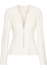 Faux pearl-embellished cutout stretch-crepe jacket