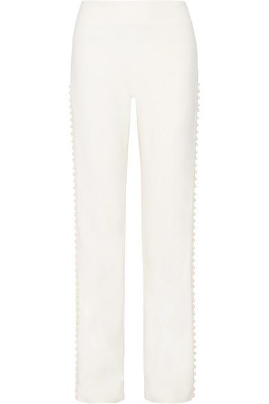 Jonathan Simkhai - Faux Pearl-embellished Cutout Stretch-crepe Wide-leg Pants - White