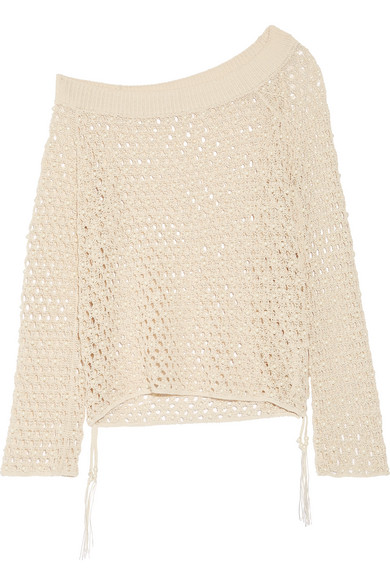 Jonathan Simkhai - One-shoulder Faux Pearl-embellished Crocheted Cotton-blend Top - Ecru