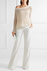 One-shoulder faux pearl-embellished crocheted cotton-blend top