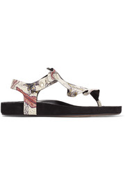 Leakey ruffled printed leather sandals
