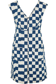Checked denim mini dress