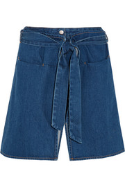 Wrap-effect denim shorts
