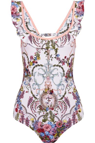 Fendi - Ruffled Cutout Floral-print Swimsuit - Blush