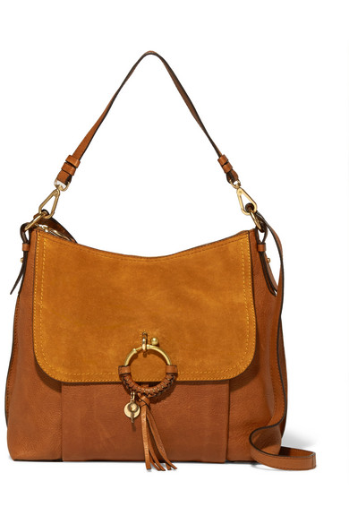 See by Chloé - Joan Medium Textured-leather And Suede Shoulder Bag - Tan