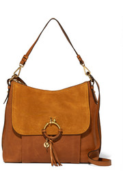 See by Chloé Joan medium textured-leather and suede shoulder bag