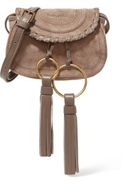 See by Chloé Polly mini leather-trimmed tasseled suede shoulder bag