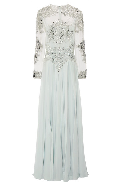 Zuhair Murad - Embellished Silk-blend Tulle And Georgette Gown - Sky blue