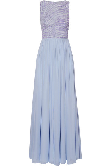 Zuhair Murad - Embellished Silk-blend Tulle And Georgette Gown - Lilac