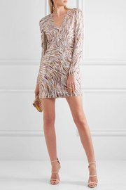 Sequined faille mini dress