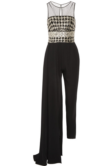 Zuhair Murad - Layered Embellished Tulle And Silk-cady Jumpsuit - Black