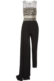Layered embellished tulle and silk-cady jumpsuit