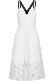 Grosgrain-trimmed broderie anglaise cotton midi dress