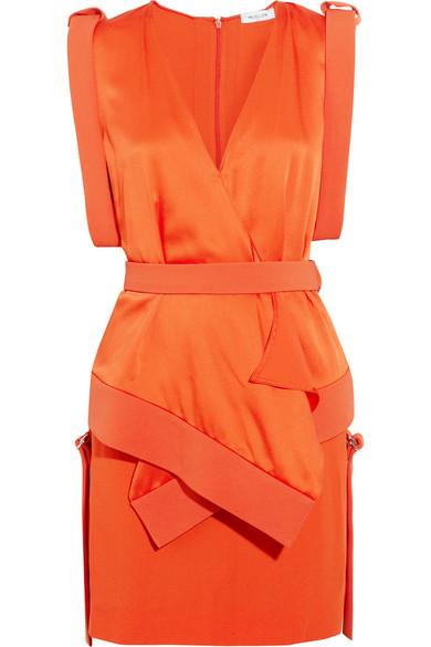 Mugler - Cady And Satin Mini Dress - Orange