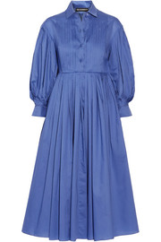 Pintucked pleated cotton-poplin midi dress
