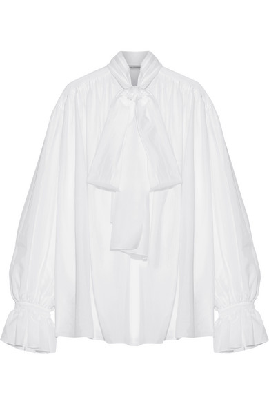 Vika Gazinskaya - Pussy-bow Cotton-voile Blouse - White