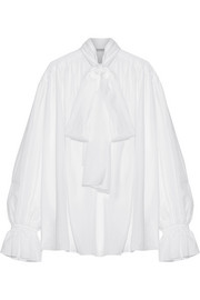 Pussy-bow cotton-voile blouse