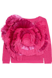 Cropped fringed raffia and cotton sweater