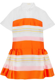 Cotton-organza and striped satin mini dress