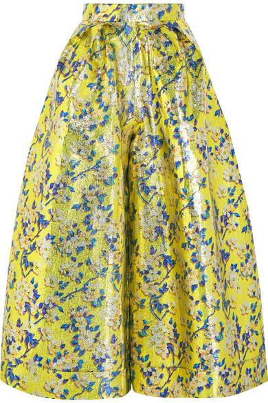 DELPOZO - Metallic Floral-brocade Wide-leg Pants - Sage green
