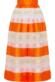 Cropped striped organza wide-leg pants