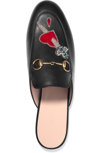 a83ef48b8ba Gucci. Princetown appliquéd embellished leather slippers. £765. Zoom In