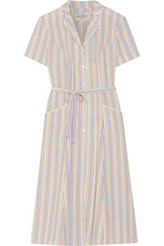 HVN Maria belted striped seersucker dress