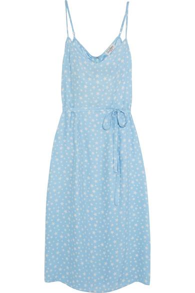 HVN - Lily Printed Silk-satin Dress - Sky blue
