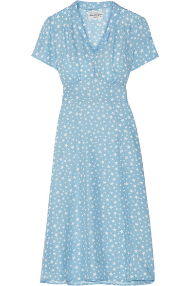 HVN - Morgan Printed Silk-satin Dress - Sky blue