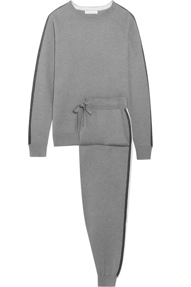 Olivia von Halle - London Striped Silk And Cashmere-blend Sweatshirt And Track Pants Set - Gray
