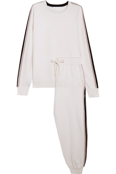 Olivia von Halle - Moscow Striped Silk And Cashmere-blend Sweatshirt And Track Pants Set - Ivory