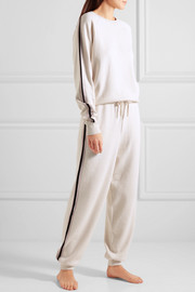 Moscow striped silk and cashmere-blend sweatshirt and track pants set