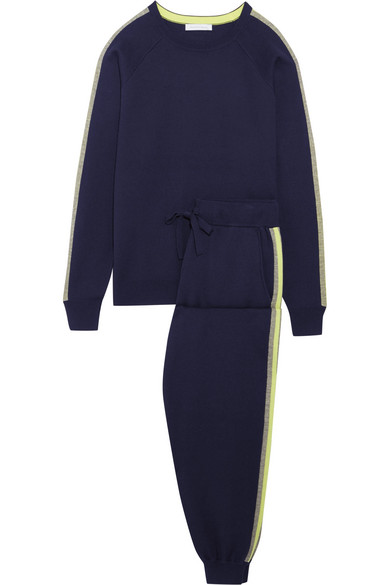 Olivia von Halle - New York Striped Silk And Cashmere-blend Sweatshirt And Track Pants Set - Navy